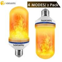 Texsens 2 Pack 4 Modes+Gravity Sensor Flame Light E27 E26 B22 LED Flame Effect Fire Light Bulb Flickering Emulation Decor Lamp