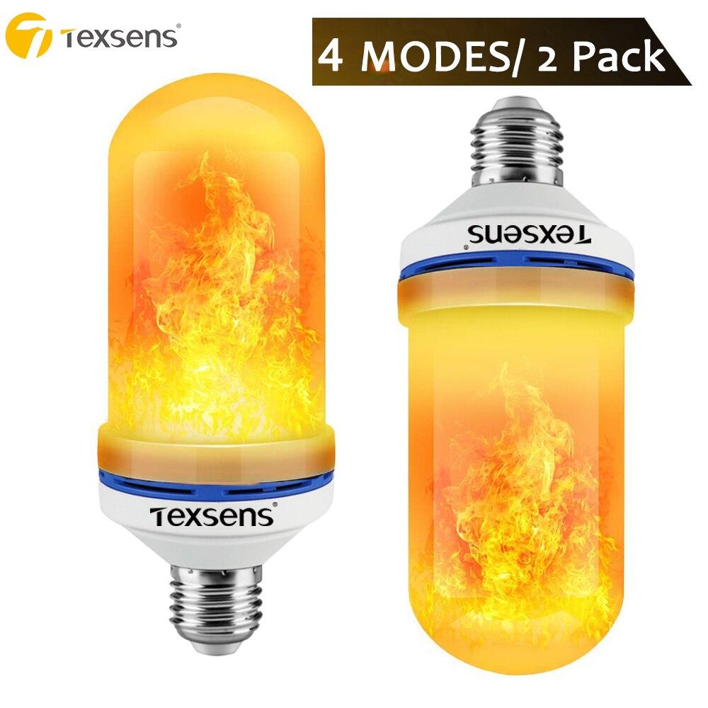 Texsens 2 pack 4 Modes + Gravité Capteur Flamme Lumière E27 E26 B22 LED Flamme Effet Feu Lumière Ampoule Scintillement émulation Décor Lampe