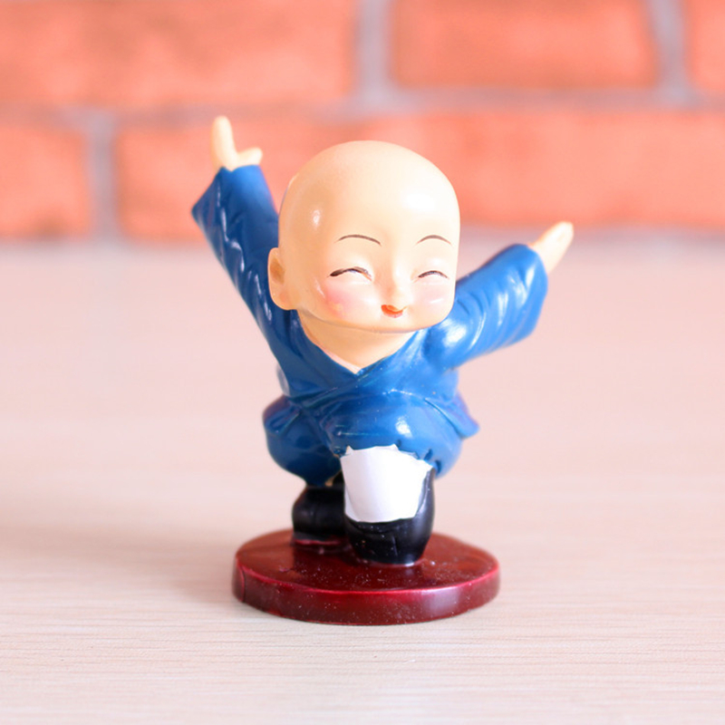 VILEAD 4pcs Set Resin Kungfu Monk Figurines Cute Cartoon Little Monk Statue Lovely Ornament Crafts for Home Decor Kids Gifts in Figurines Miniatures from Home Garden