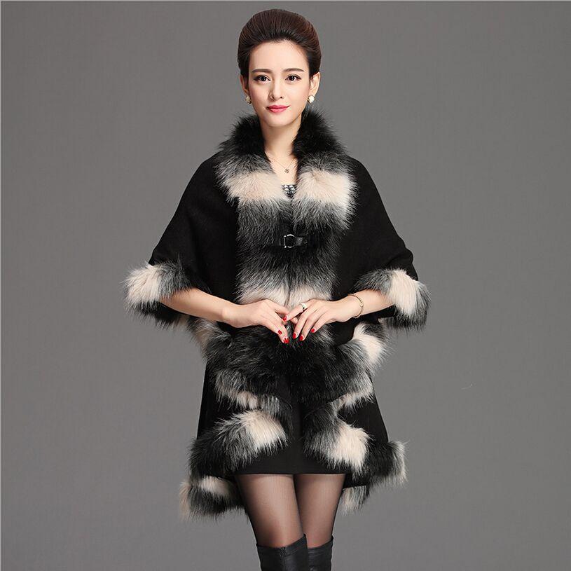 Kožešinový kabát samice 2017 nový podzim zima mix barevné faux - Dámské oblečení