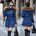 2017 Autumn&Winter Women Parka Outerwear Cotton Jacket With Large Fur Collar Plus Size M - XXXL Thickening Long Slim Coat MZ756