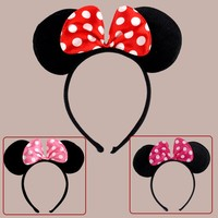 10pcs Minnie Mouse Ears Mickey Party Supplies Ears Accessories Headbands Birthday Decoration Baby Shower Headband Party