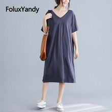V-neck Oversize Dress Basic Vestidos Mid-Calf Loose Short Sleeve Plus Size Summer Casual Dress Gray Black NQYL126 стоимость