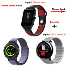 2 piezas Amazfit banda de reloj pulsera de 20mm 22mm para Xiaomi Huami Amazfit Bip Stratos 2 ritmo Correa de muñeca correa Samsung Gear S2 S3 S4