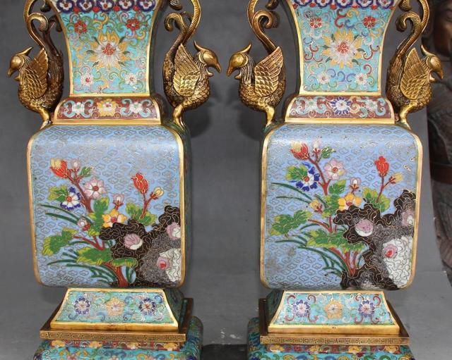 16 Cloisonne Bronze Gild Palace Phoenix Phenix Flower Pot Jar