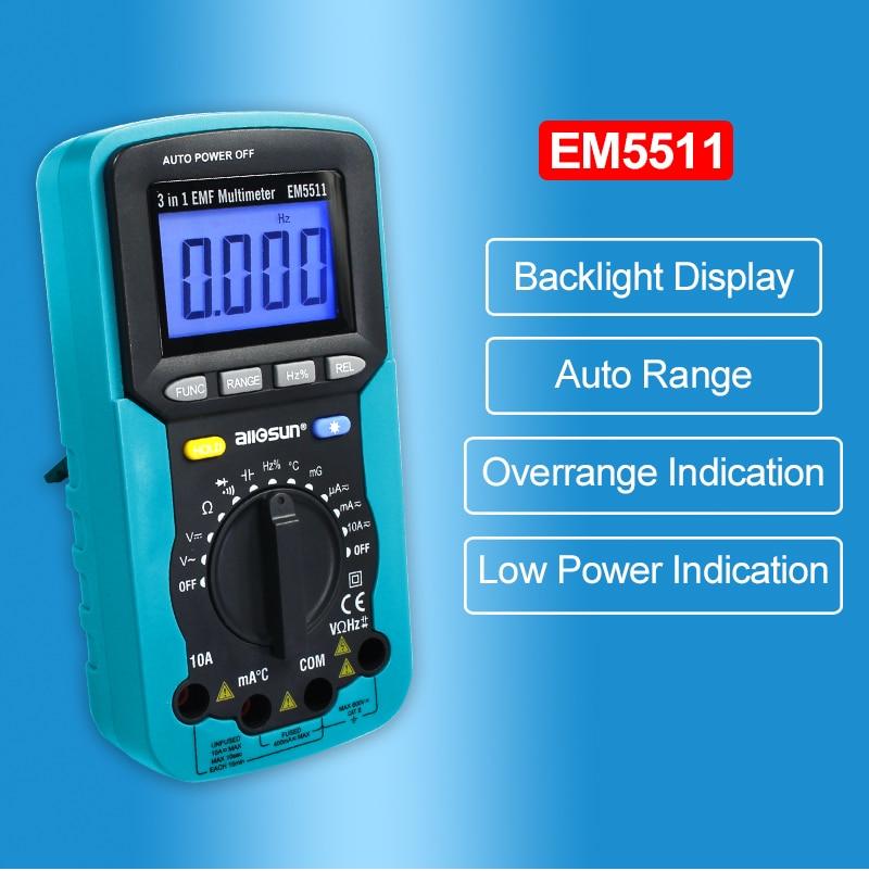 ALL SUN EM5511 3in1 Auto Range Digital Multimeter Voltmeter Ammeter - Mõõtevahendid - Foto 3