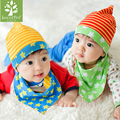 2 pcs/set Baby Beanie Cap Set with Bandana Bib  Striped Hat Head Scarf Boy Girl Kids Clothing Accessories Knit Cap Bibs Suit
