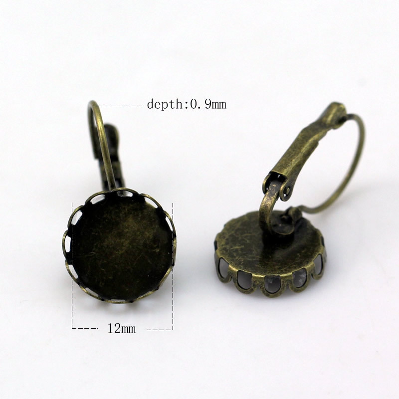 Beadsnice jewelry leverback cabochon settings earring base fashion women diy earring components brass round blank earrings lace