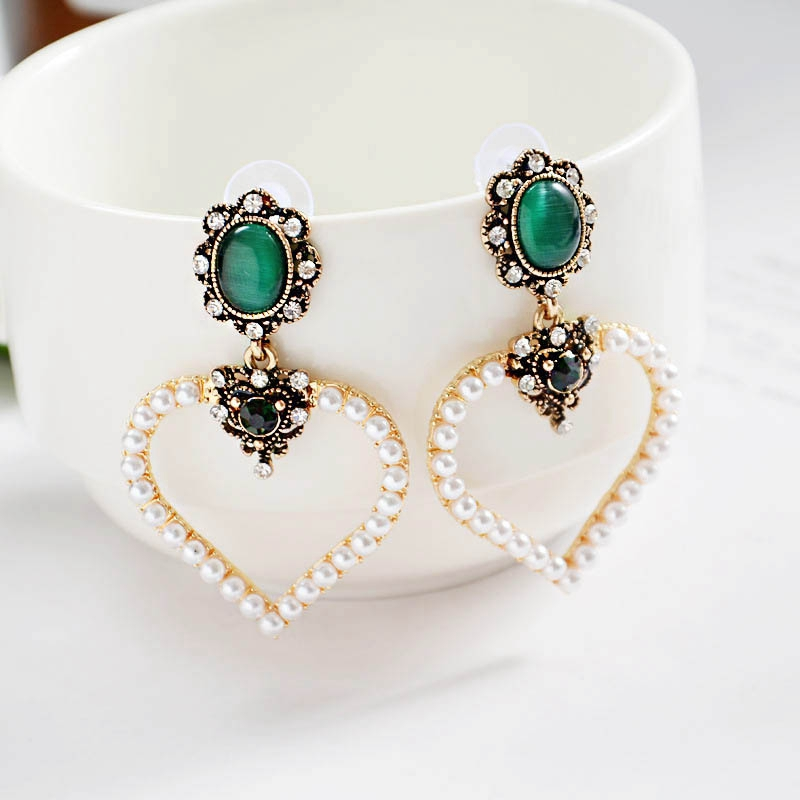 New Statement Green Stone Big Heart Earrings Women Fashion Simulated Pearl Vintage Crystal Earring Brincos Party Ear Jewelry