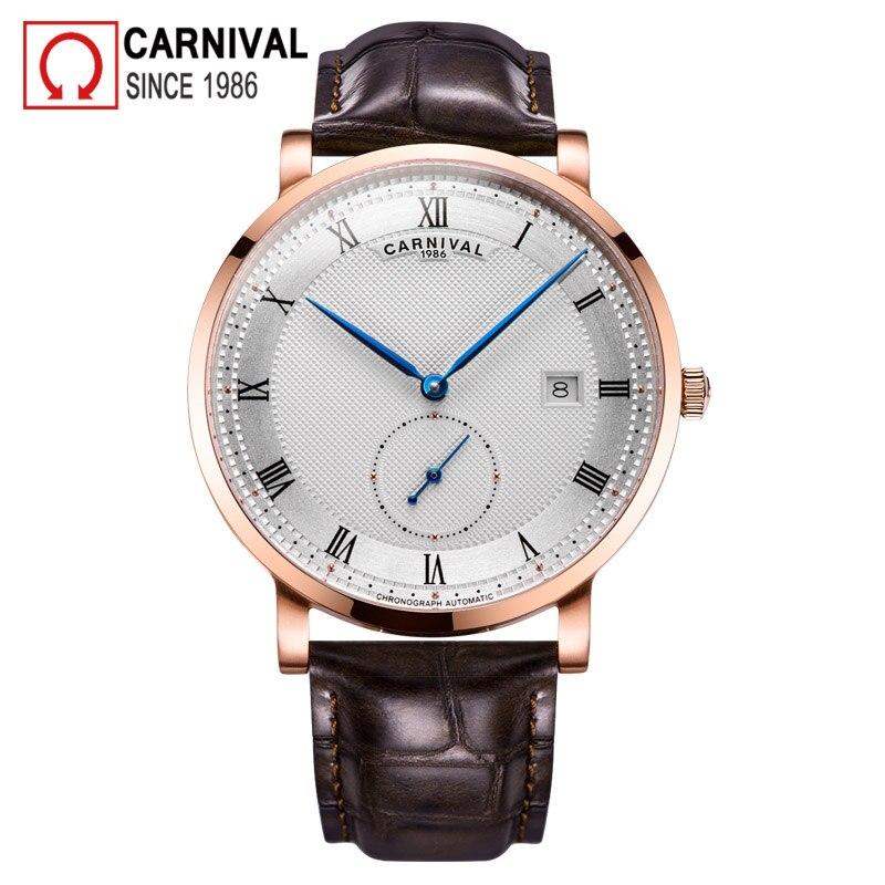 Karnawał automatyczny zegarek mężczyźni Reloj Hombre skórzany pasek zegarki mechaniczne Roma numer zegar wodoodporny kalendarz zegarek w Zegarki mechaniczne od Zegarki na  Grupa 1