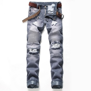 2019 Fashion high-end brand-name men's jeans straight European and American style personality hand-broken zippered trousers men
