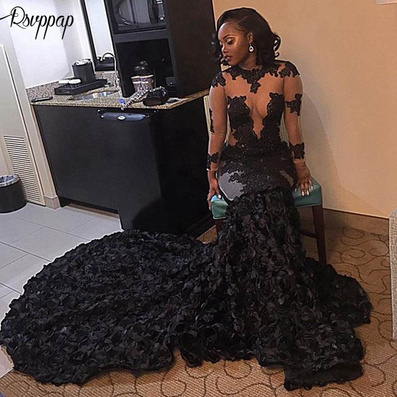 Long Sleeve Sheer O-neck Mermaid Lace African Girl Train Flowers Black Long   Prom     Dresses   2019 For Party