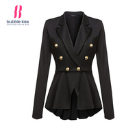 Laides Blazer Feminino Formal Jacket Women Notched Ruffled Double Breasted Autumn Turn Down Collar Casual Outerwear