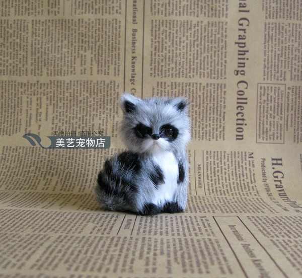 Mini lindo juguete de mapache de simulación realista sentado mapache regalo de juguete 5x4x7 cm