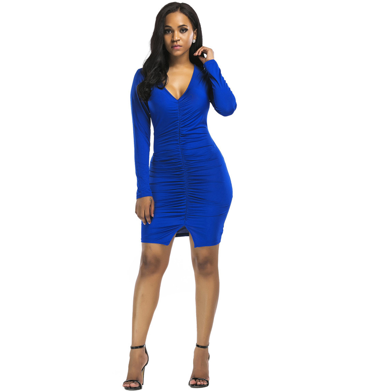 Blue bodycon mini dress neck coral ruched in stores online