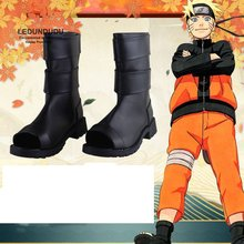 Naruto Cosplay Costumes Black PU Leather Shoes Naruto Uzumaki Ninja Boots Halloween Party Shoes Size 36 43