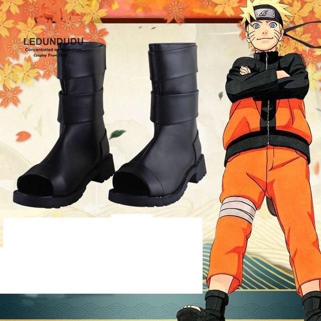 Naruto cosplay trajes preto couro do plutônio sapatos naruto uzumaki ninja botas festa de halloween sapatos tamanho 36 43