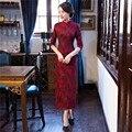 Бесплатная Доставка половина Рукава Кружева Qipao Китайский Традиционный Одежда Долго Cheongsam Платье Для Женщин Смеси Хлопка Платье в Китайском стиле