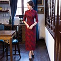 Free Shipping half Sleeve Lace Qipao Chinese Traditional Clothing Long Cheongsam Dress For Women Blend Cotton China Dress