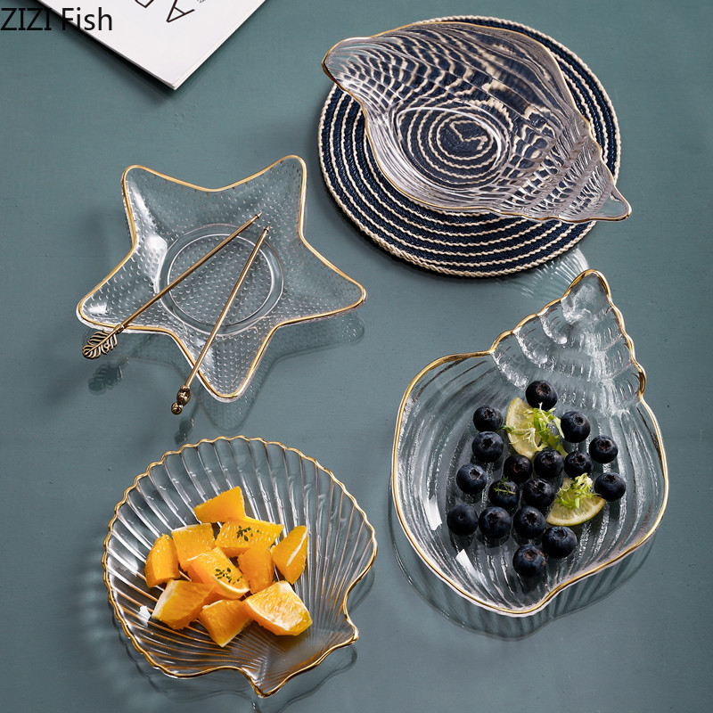 Tableware Storage-Tray Dessert-Plate Snack Shell-Shape Glass Home-Decoration Transparent