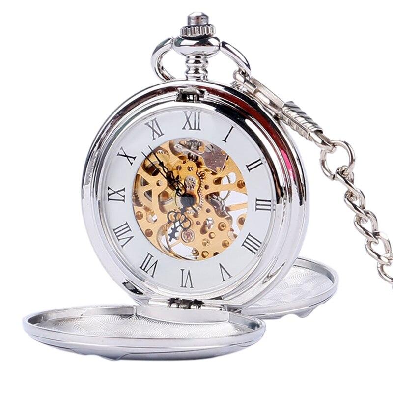 Steampunk Skeleton Mechanical Pocket Watch Luxury Gold Silver Fob Open Side Necklace Clock Antique  Reloj De Bolsillo Gifts