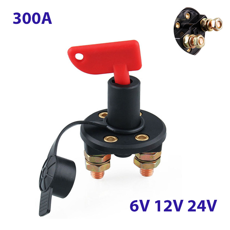 300A 6V 12V 24V Moto Car Battery Switch Circuit Breaker Main Switch 2 Screw Terminals Cut-off Switch Insulated Rotary Switch Key image