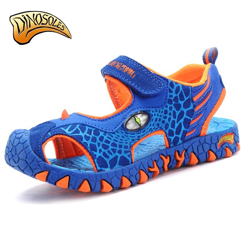 Dinoskulls детей Обувь дети Обувь для мальчиков малышей кожаные сандалии летние пляжные Обувь для мальчиков свет Сандалии для девочек 3D Динозав... ...