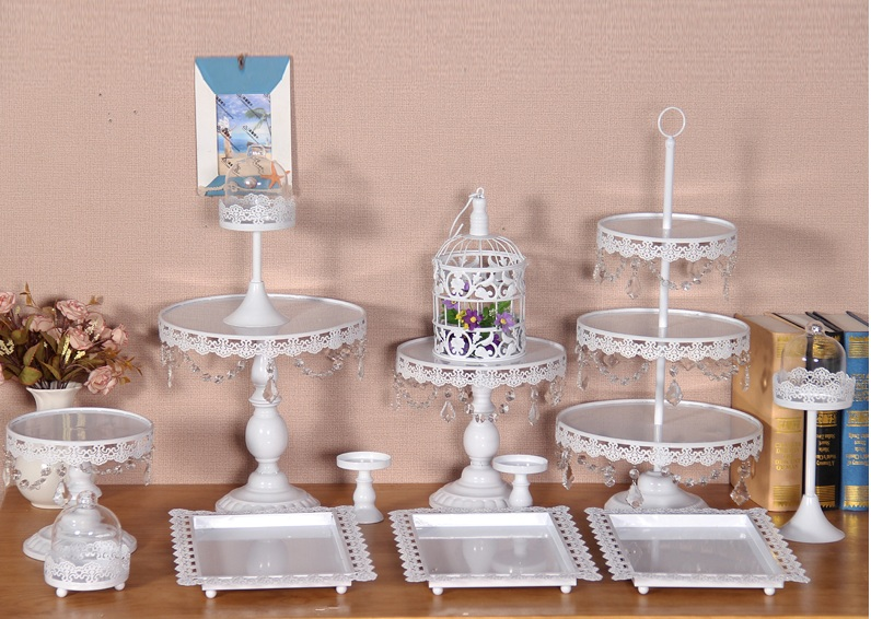 12or 13 pieces/ lot white cake stand wedding cupcake stand set glass dome crystal candy bar decoration cake tools bakeware set