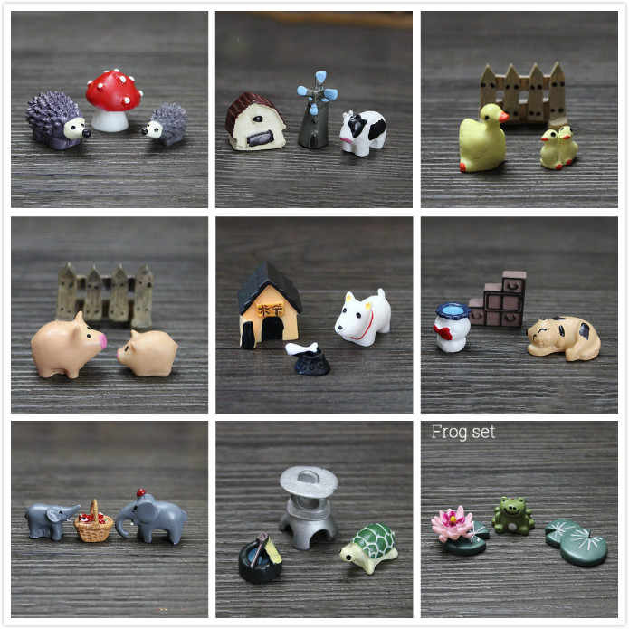 Mini animals 3pcs/set Micro beach landscape fairy garden decoration material resin Toys miniatures/terrariums DIY accessories