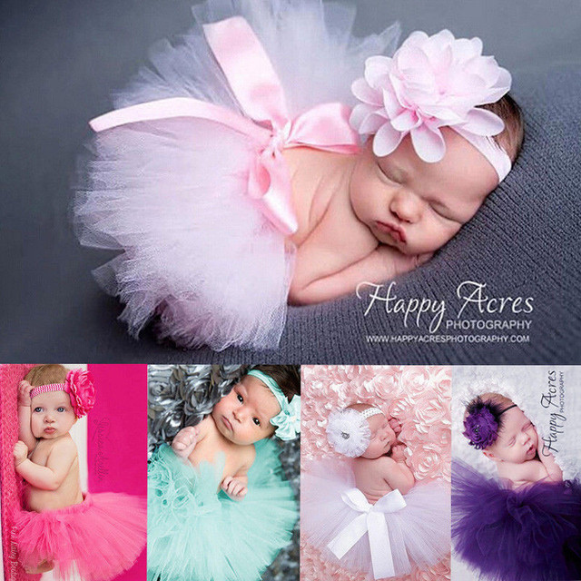 9ba3e9f53 Baby Newborn Photography Props 2018 New Infant Baby Photo Props Tutu Tulle  Ball Gown Skirt Headband For Photography Accessories