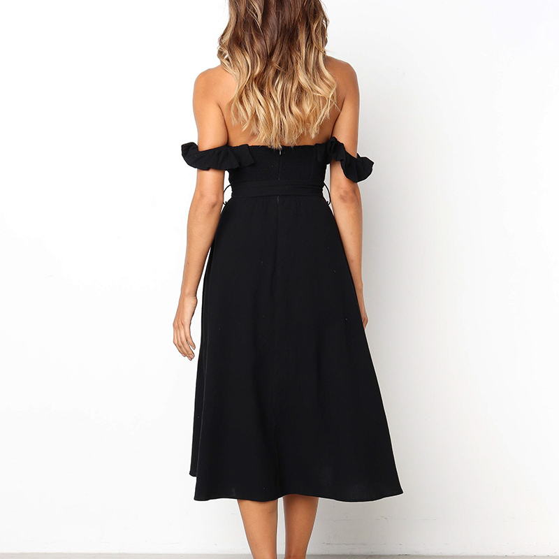 Sexy off shoulder ruffle women dress Elegant black button sash summer dress Casual female midi lady vestidos festa 2019 in Dresses from Women 39 s Clothing