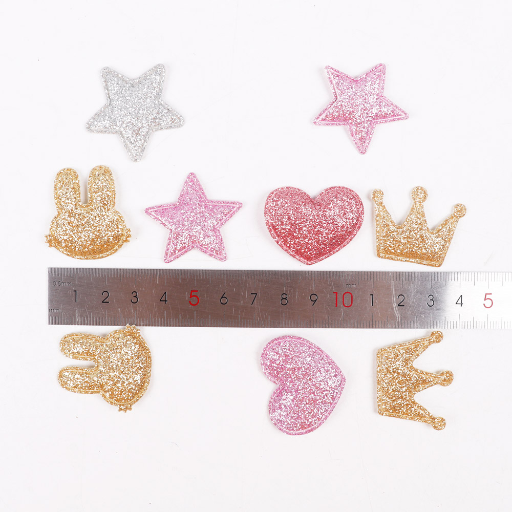 HTB1gO7OniCYBuNkSnaVq6AMsVXaX 100pcs/bag Glitter Patches Crown Rabbit Heart Pattern Cute Patch Apparel Sewing Material Patches For Clothing Garment Decorative