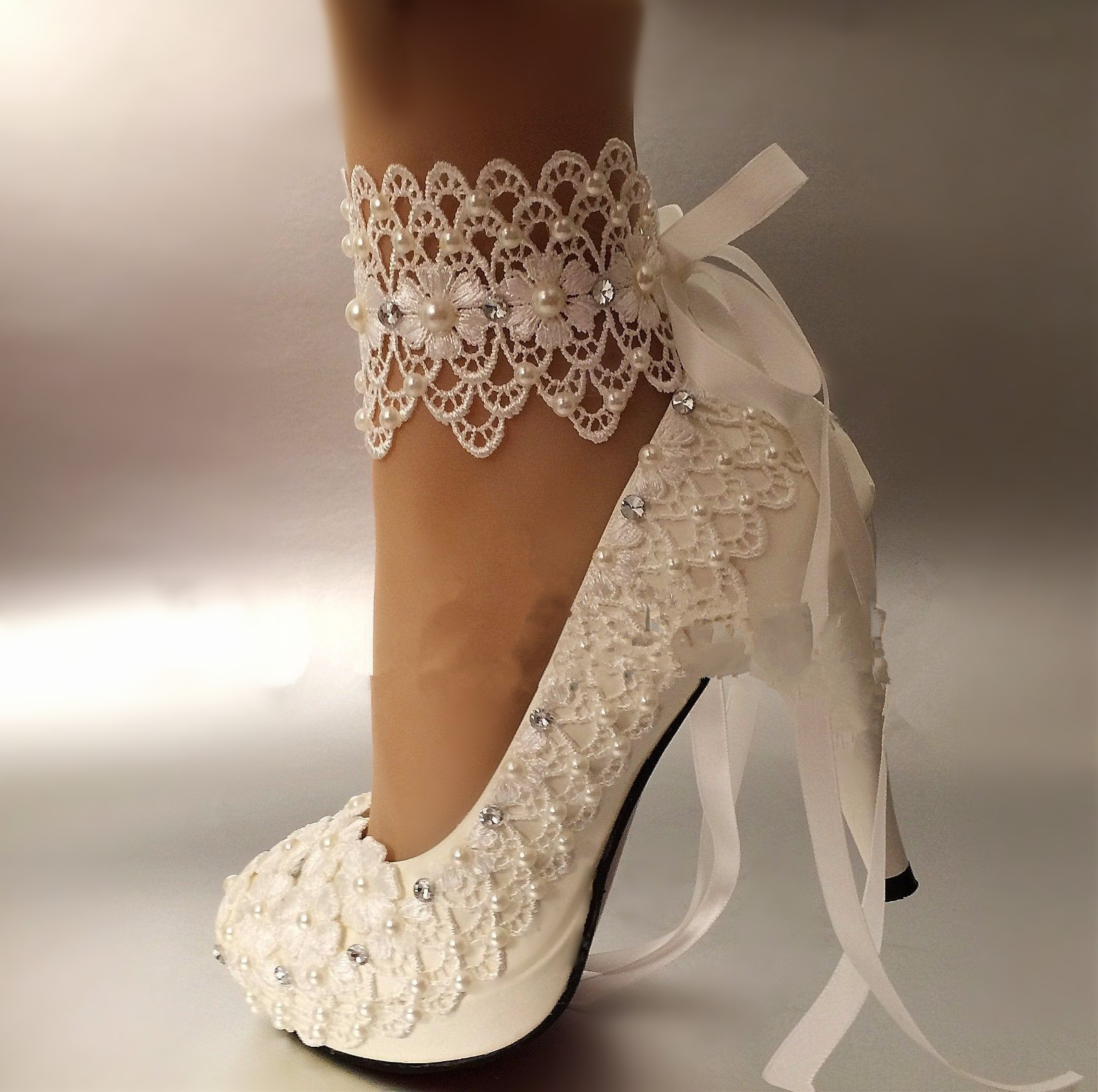 ФОТО Women Shoes Pumps Lace Ankle Strap Wedding Shoes Lace Flower Bride Formal Dress Single with Female Free Shipping Party Shoes