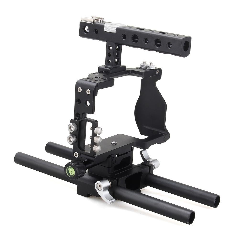 bilder für Fotopal aluminium alloy dslr video kamera käfig griff grip stabilizer kit für sony a6000 a6300 a6500 kamera