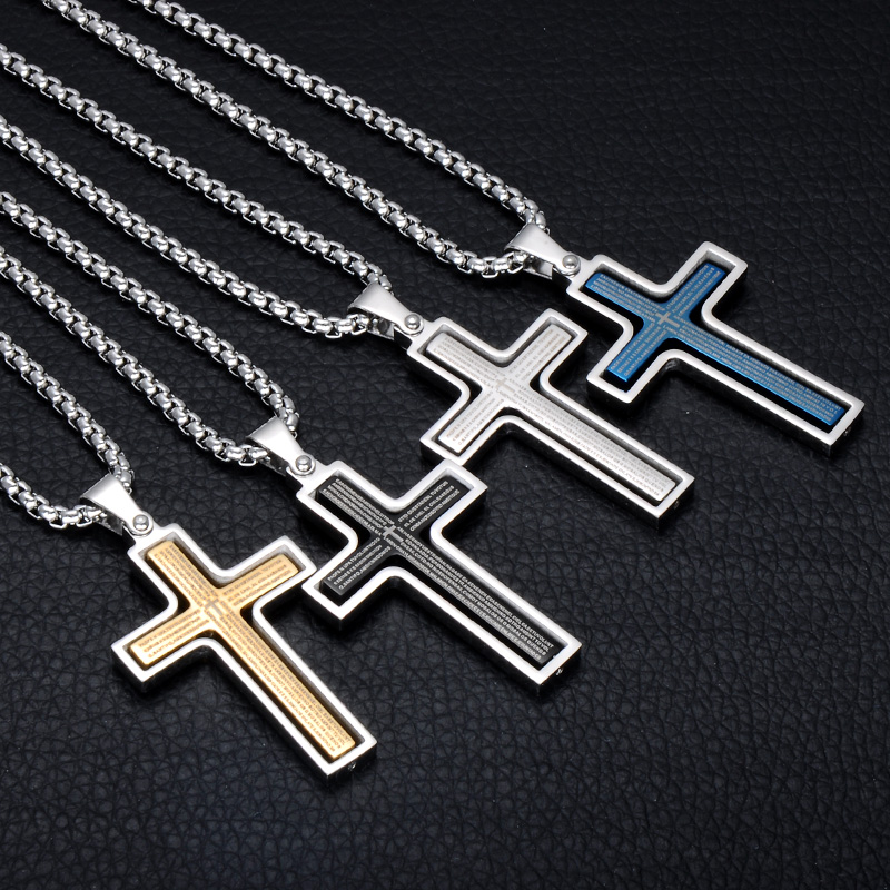 D&Z Religion Bible Cross Pendant Necklace Gold Color Stainless Steel Rotatable Crucifix Necklaces for Christian Jewelry crucifixo pingente de ouro masculino