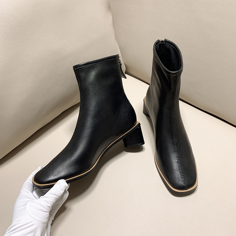 ISNOM Genuine Leather Ankle Boots Women Square Toe Booties Woman Fashion Shoes Female Thick Heels Zip Shoes Ladies Winter 2019 Karachi