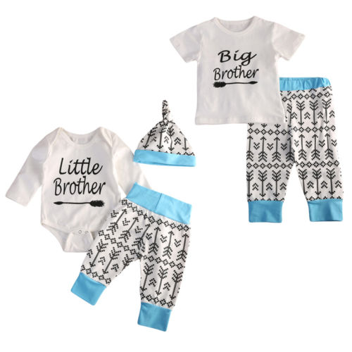 Baby Boy Big Little Brother T-shirt Romper Bodysuit +Arrows Print Pants Outfits