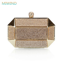 Luxury Party Clutch Bags Iron Box Full Diamond Evening Bags Solid Clutch Purse Wedding Shoulder Bags Gold/Silver/Black EB16