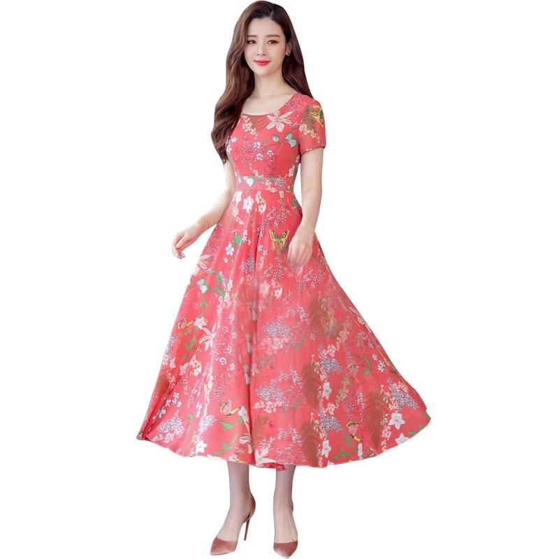 Summer Floral Maxi Dress Women Flower Print Casual Split Beach Dress Ladies Elegant Cotton Vintage Boho Dresses Girl