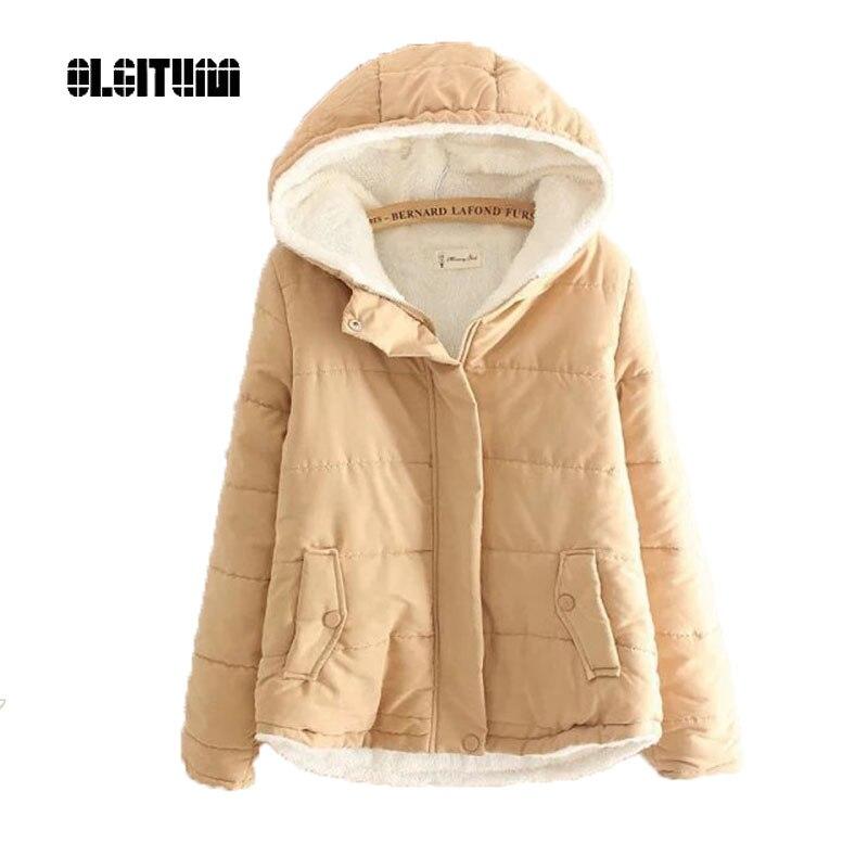 2019 Women's Winter Jacket New Thick Lambs Hooded Coat Jacket Women Plus Cashmere Students Cotton Coat Jacket