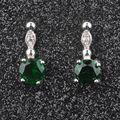 Small Design Green Stone Cubic Zirconia Silver Jewelry For Women Fashion Stud Earrings Free Shipping PE036