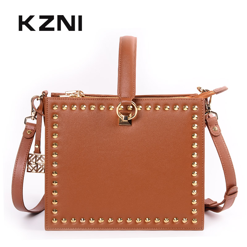 KZNI Women Bag Genuine Leather Shoulder Strap Bag Small Luxury Ladies Purses and Handbags Sac Femme Pochette 9062-9063 kzni genuine leather purses and handbags bags for women 2017 phone bag day clutches high quality pochette bolsa feminina 9043