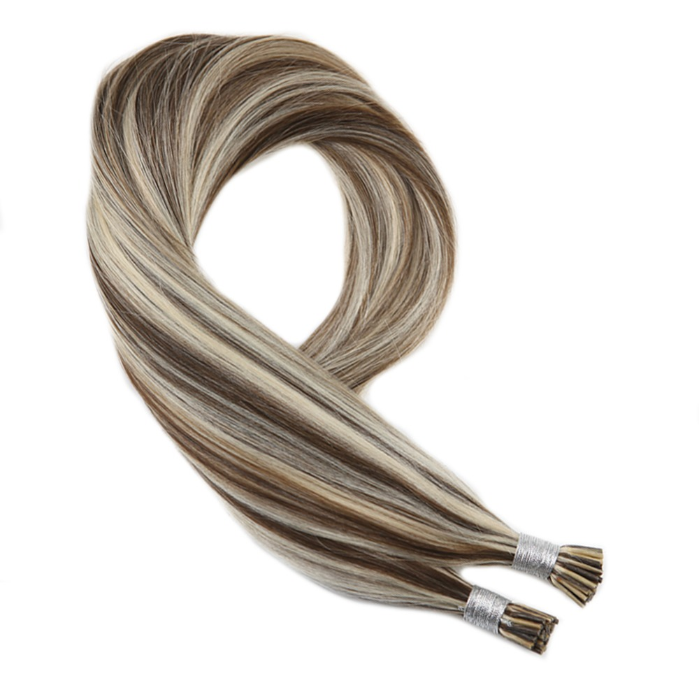 Moresoo Human Hair I Tip Extensions Piano Color #9A Brown Highlights With Platinum Blonde Machine Remy Hair Extensions 50g 1g/1s