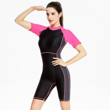 Swimsuit Women 2017 One Piece Professional Short Sleeve Swimwear Sports Racing Competition Full Brief Knee Bathing Suit XXXL