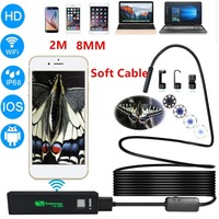 2M 8mm Lens HD 1200P Wireless WiFi Endoscope Mini Waterproof Soft Cable Inspection Camera 8LED Borescope
