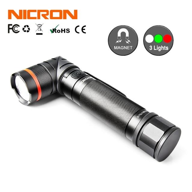Nicron магнит 90 градусов 5 Вт очень яркий светодиодный фонарик высокой Яркость Водонепроницаемый 3 режима 300 люмен Масштабируемые светодиодный фонарик b70