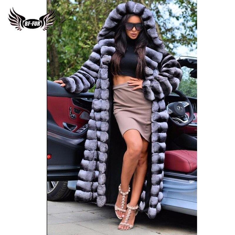 Rex Rabbit Fur Whole Skin Real Fur Coat Thick Warm Womens Coats 2018 Winter Long Coat Women With Fur Hood Chinchilla Natural Fur
