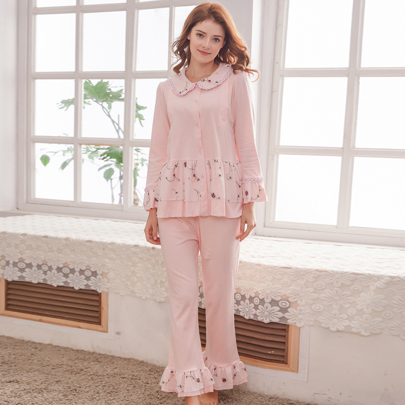 Maternity Pajamas Set For Nursing Clothes Pregnant Women 100 Cotton Beautiful Breastfeeding Pajamas 2 Pieces Set Long Sleeve