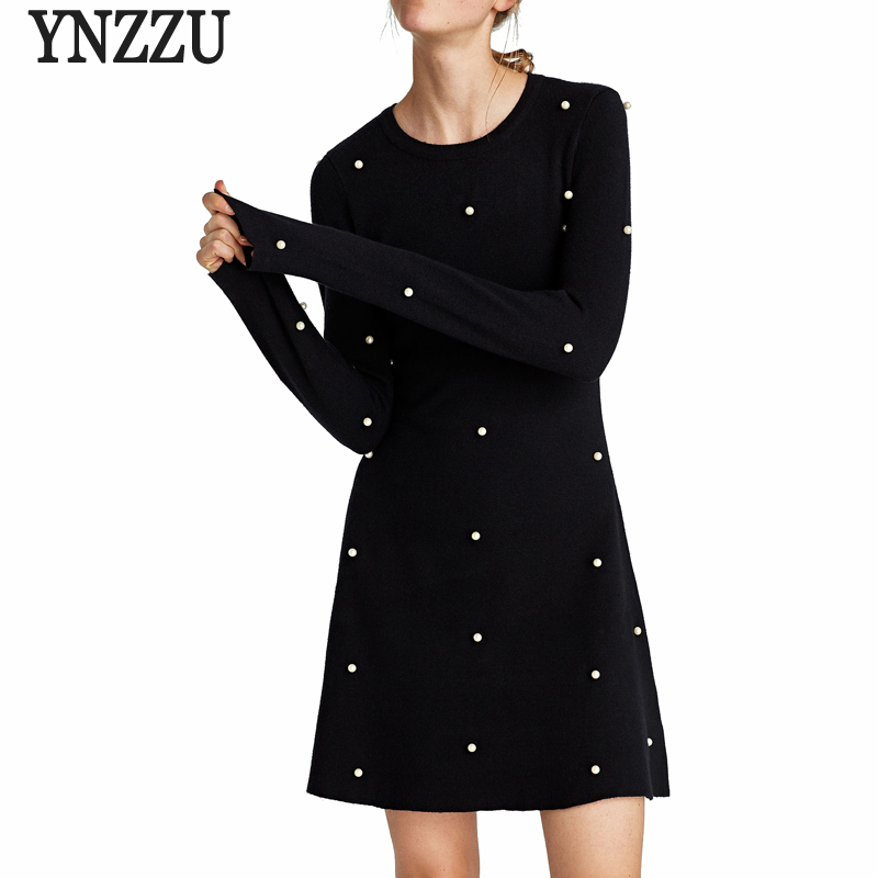 Women Knitted Dress Long Sleeve A-Line Pearls Solid Pullover 2017 New Autumn Slim Women Sweater Dress Vestidos AD197 readit knitted dress 2017 autumn winter side split with faux pearl beading long sleeve elegant slim dress vestidos d2745