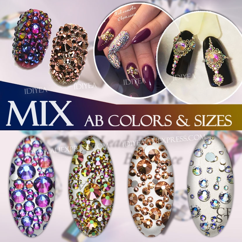 Mix Sizes AB colors SS3 SS4 SS5 SS6 SS10 SS12 SS16 about 500Pcs Nail Art Rhinest